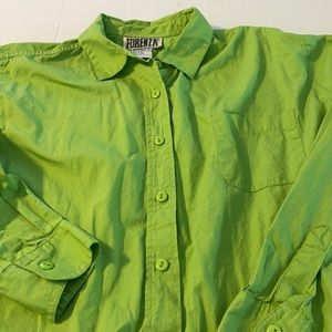 Ladies Vintage FORENZA Lime Green Shirt Sz. Large